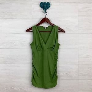 CAbi Ruched Side Pea Green V Neck Faux Wrap Tank